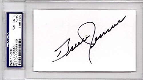 (Bruce Jenner Signed - Autographed Track and Field Vintage 3x5 Inch Index Card - aka Caitlyn Jenner - Certificate of Authenticity (COA) - Slabbed Holder - PSA/DNA)