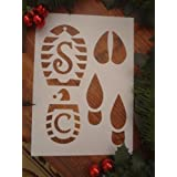 SANTA Claus father christmas ELF Reindeer FOOTPRINT FOOTSTEPS BOOT STENCIL PRINT- MADE FROM GOOD QUALITY REUSABLE PLASTIC, SANTA STOP HERE!! by LPS