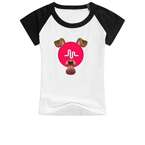 Dog Little Tshirt Girl (Mumogu Little Boys Girls Musical Dog Cotton Raglan T-Shirt 6-10yr Old S Black)