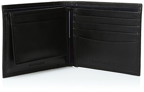 Tommy Hilfiger Men's Leather Cambridge Passcase Wallet With Removable Card Case,Black,