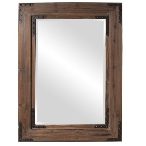 Howard Elliott Caldwell Rectangular Hanging Wall Mirror, Natural Wood Frame