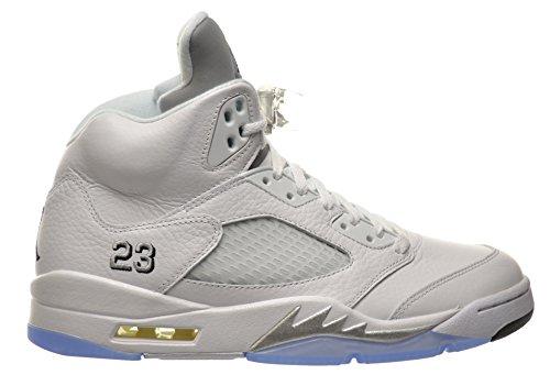 Jordan 5 Retro Men's Shoes White/Black-Metallic Silver 136027-130 (10 D(M) US) -