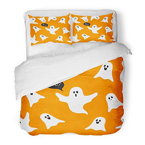Emvency Bedding Duvet Cover Set Twin (1 Duvet Cover + 1 Pillowcase) Autumn Halloween Ghosts Boo with Cute Cartoon On Orange Celebration Character Creepy Hotel Quality Wrinkle and Stain Resistant