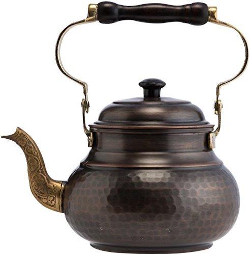 DEMMEX 2017 Hammered Copper Tea Pot Kettle Stovetop Teapot, 1.6-Quart (Antique Copper)