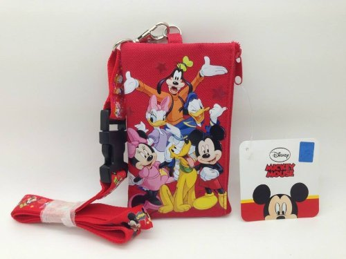 Mickey Mouse and Friends KeyChain Lanyard Fastpass ID Ticket Holder Red (Red Ticket Holder)