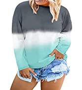 Happy Sailed Womens Plus Size Tie Dye Sweatshirt Casual Long Sleeve Crew Neck Colorblock Pullover...