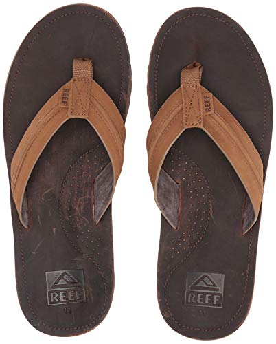 Reef Mens Sandal Voyage Lux   Premium Real Leather Flip Flops for Men With Soft Cushion Footbed   Waterproof