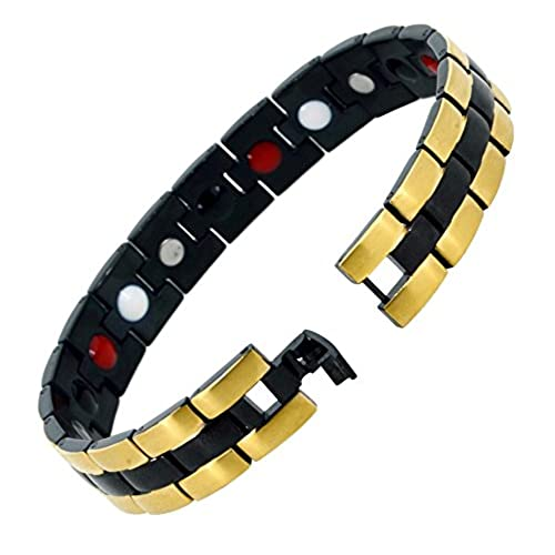 Mens Black Link Stainless Steel Extra Strong Four Element Magnetic Bracelet, Link Removal Tool