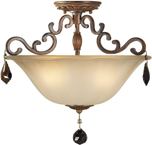 03 Forte Ceiling Lighting - Forte Lighting 2486-03-41 Semi Flush Mount with Shaded Umber Glass Shades, Rustic Sienna