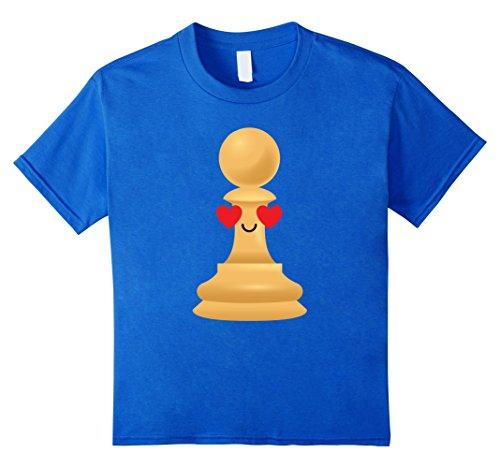 [Kids Chess Piece Emoji Heart & Love Eye Shirt Master T-Shirt Tee 4 Royal Blue] (Chess Player Costume)