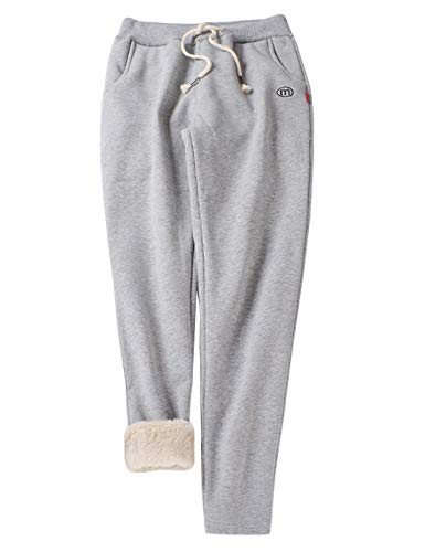 Gihuo Women's Winter Fleece Pants Sherpa Lined Sweatpants Active Running Jogger Pants (3# Light Grey (Tapered Leg), Large)