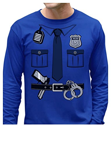 [Police Cop Uniform Halloween Costume Policeman Outfit Suit Long Sleeve T-Shirt Medium Blue] (Cop Costumes Tshirt)