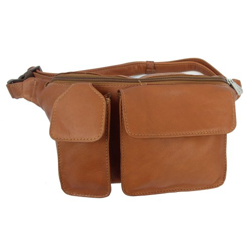 Piel Leather Waist Bag with Phone Pocket, Saddle, One (Piel Fanny Pack)