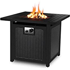Fire Pits femor 30″ Propane Gas Fire Pit, 50,000 BTU Auto-Ignition Fire Bowl with Waterproof Firepit Table Cover & Lava Rock, CSA Certification, Outdoor Square Fireplace for Courtyard/Balcony(Black) firepits