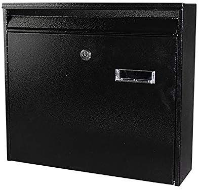 メールボックス 亜鉛メッキメタルロック可能なウォールは、メールボックスレターボックス全天候ウォールマウントメールボックス・屋外をマウント 家庭用またはビジネス用 (Color : Black, Size : 36x10x32cm)