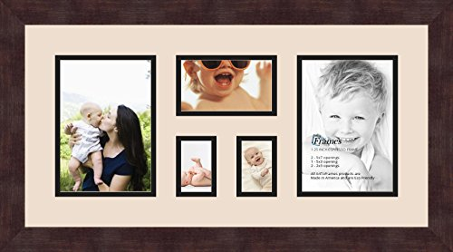 and Espresso Frame Art to Frames Double-Multimat-832-716//89-FRBW26061 Maine State Collage Frame with 5-3x3 Openings