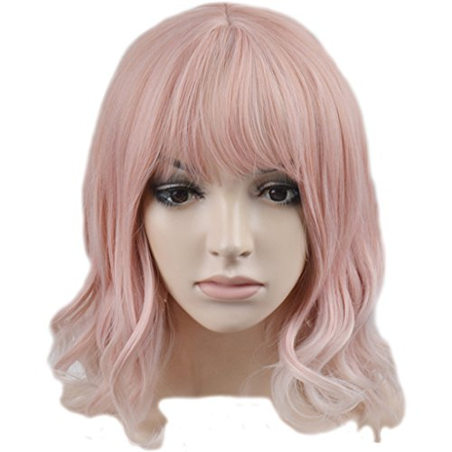 Colorful-House-Womens-Girls-Air-Bangs-Short-Curly-Synthetic-Cosplay-Party-Costume-Wig-with-Wig-Cap-14-Pink-Ombre-White