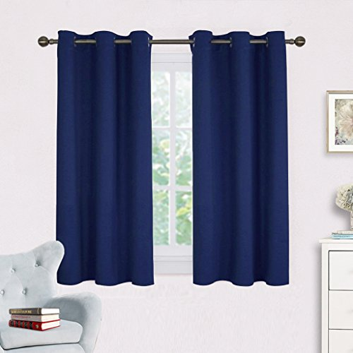 NICETOWN Navy Blue Blackout Draperies Curtains, All Season Thermal Insulated Solid Grommet Top Blackout Curtains/Drapes for Kid's Room (1 Pair,42 x 45 Inch in Navy Blue) Blue Window Curtains