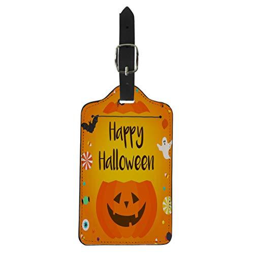 Pinbeam Luggage Tag Colorful Happy Halloween Candies Pumpkin Bucket on Orange Suitcase Baggage Label -