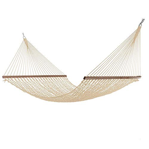 Elegant Homes Large DuraCord Rope Hammock, Quick Dry Rope Hammock with Double Size Solid Wood Spreader Bar Outdoor Patio Yard Poolside Hammock with Chains, 2 Person 450 Pound Capacity ()