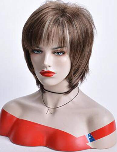 SEVENCOLORS Short Curly Wigs for White Women Multicolor Fluffy Bob Wigs with Bangs Natural Looking S - http://coolthings.us