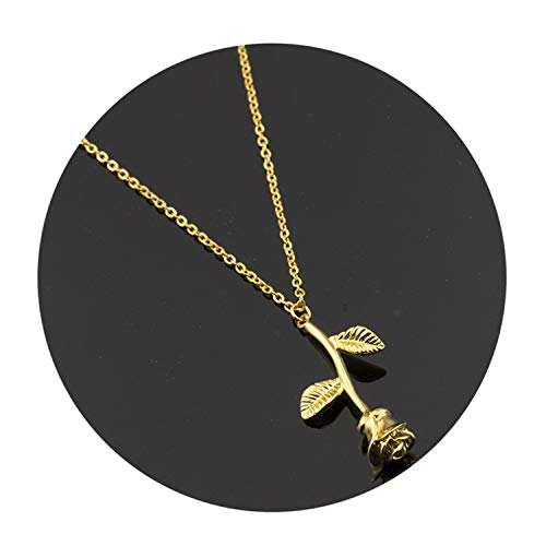 Bijoux Femme Collier Pink Gold Rose Flower Statement Necklace Women Maxi Choker Boho Jewelry Graduation G