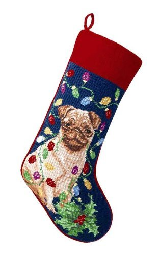 Pug with Lights Dog Needlepoint Christmas Stocking by Peking Handikraft