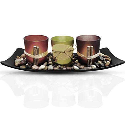 Urban Deco Natural Candlescape Set 3 Decorative Candle Holders, Rocks and Tray Tea Light Candle Holder Set Ideal Gift for Spa Wedding Party (Candle Holder Set - 1)