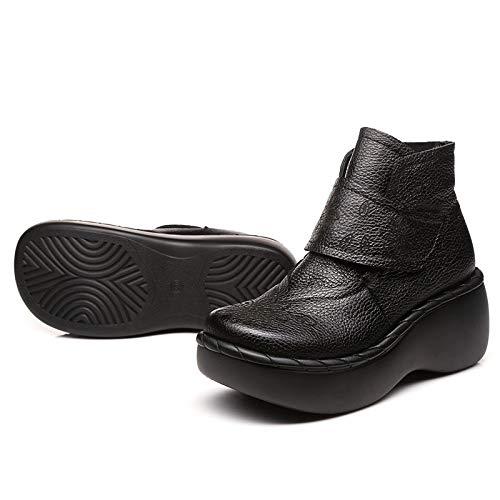 De Altos Mujer Bordado Pingxiannv Tobillo Cuero A Botas Zapatos Hecho Para Retro Mano Tacones TwYq885n