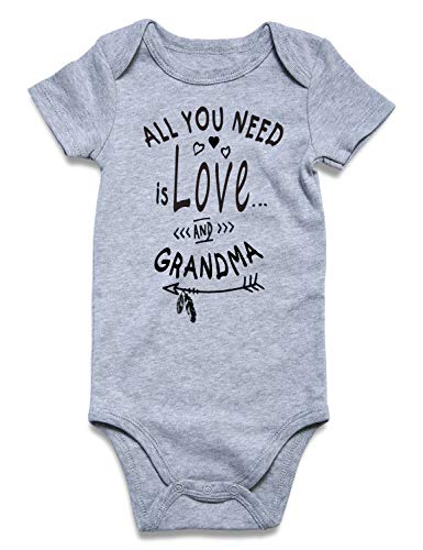 BFUSTYLE Unisex Newborn Infant T Shirt Little Kids Jumpsuit Short Sleeves Dress Baby Girl 100% Cotton One-Piece Bodysuit Rompers Sunsuit (Love and Grandma, 0-3 Months) ()