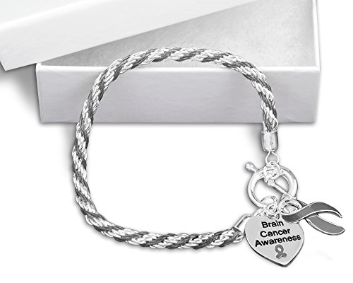 Ribbon Silver Sterling Awareness Bracelet (Brain Cancer Gray Ribbon Rope Bracelet in a Gift Box (1 Bracelet - Retail))
