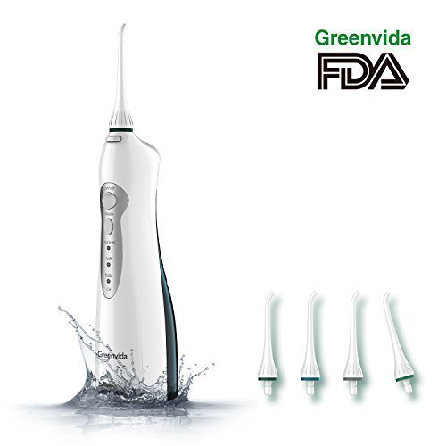 Electric Water Flosser Cordless Dental Oral Irrigator,Water Flosser Portable Rechargeable With 3 Modes & 4 Jet Tips,Electric Oral Irrigator IPX7 Waterproof for Kids and People with Braces by Greenvida (Image #9)