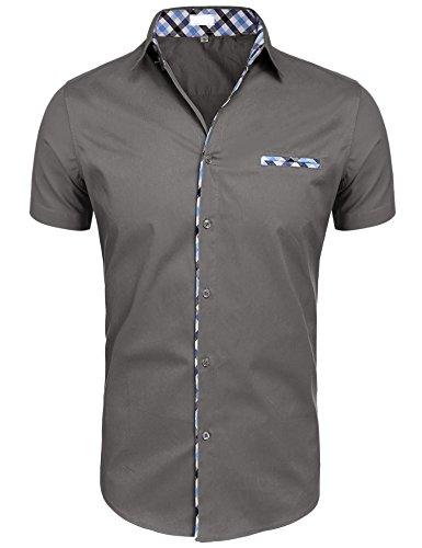 - Hotouch Men's Short Sleeve Oxford Cotton Slim Fit Shirts (Gray L)