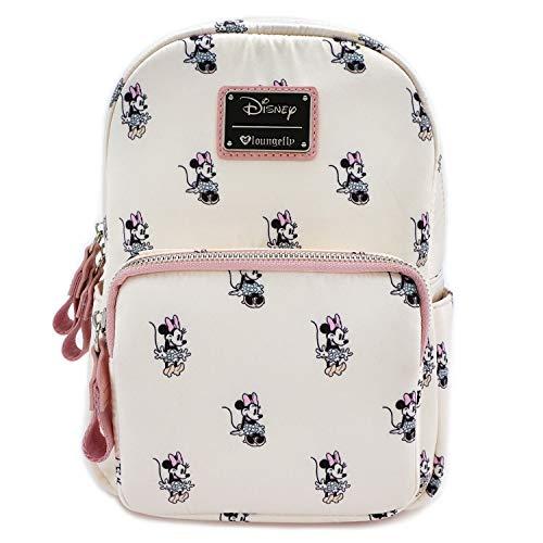 Loungefly x Minnie AOP Satin Backpack, Cream, Medium