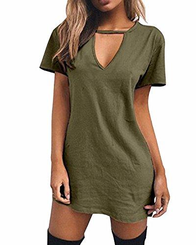 LVCBL Women Sexy Loose T-Shirt Dress Choker V Neck Short Sleeve Long Top 6 Colors S-5XL