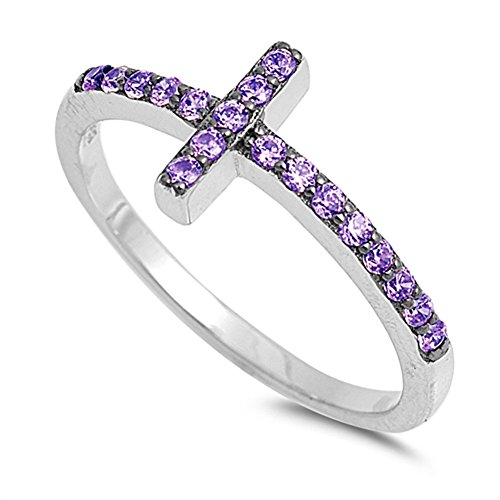 Simulated Amethyst Sideways Cross Ring .925 Sterling Silver Christian Band Size (Cross Amethyst Sterling Silver Bands)