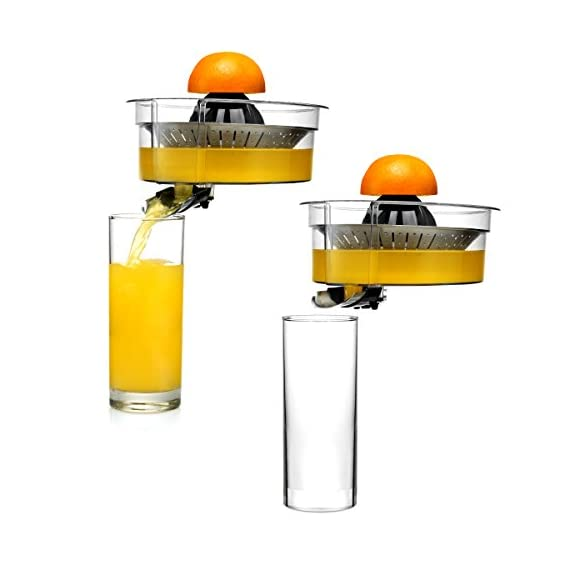 Citrus juicer 5 No extra piece to storage 1-size-fits-all juicing cone provides maximum juice extraction Filter integrated filter captures pits for richer and cleaner juice extraction Easy press rubber handle press with soft grip - stop and reducing pressure on the hand