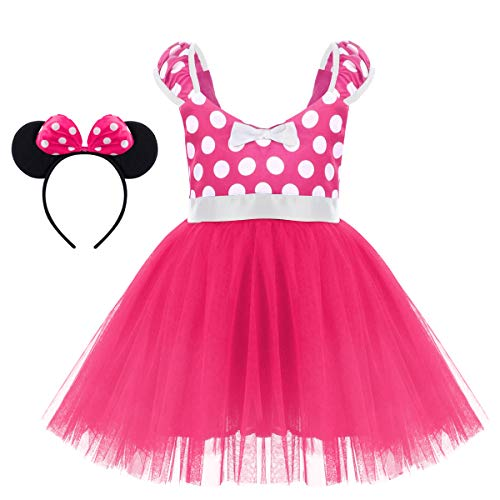 Minnie Costume Baby Girl Dress Mouse Ear Headband Vintage Polka Dot Flower 50s' Bow Tutu Ballerina Dance Wear Costumes X# Hot Pink Short Dress+Headband 5-6 Years]()