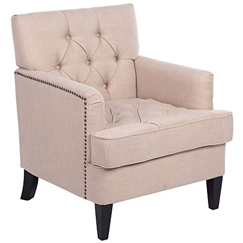 Fabric Chair Single Sofa,Fabric Club Chair Button Tufted Accent Chair with Nailhead Trim,Home Theater Single Sofa, Comfy Upholstered Arm Chair Living Room Furniture Padded Chaise Lounger Sofa Seat