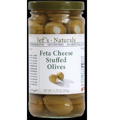 Jeff's Naturals Feta Cheese Stuffed Olives (Pack of 6)
