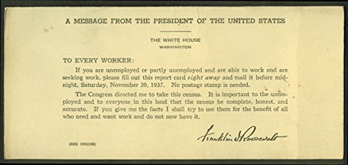 National Unemplyment Census Form with FDR message 1937 ()