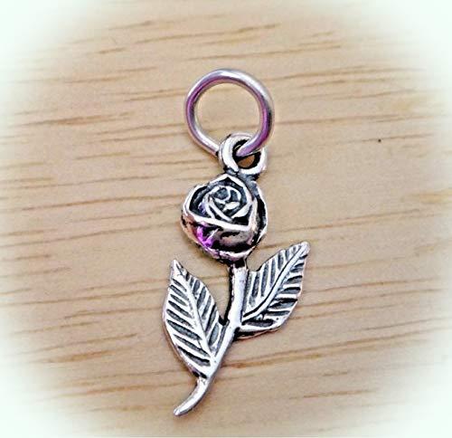 Sterling Silver Small 20x10mm Flower Long Stem Rose Charm (Long Stem Rose Charm)