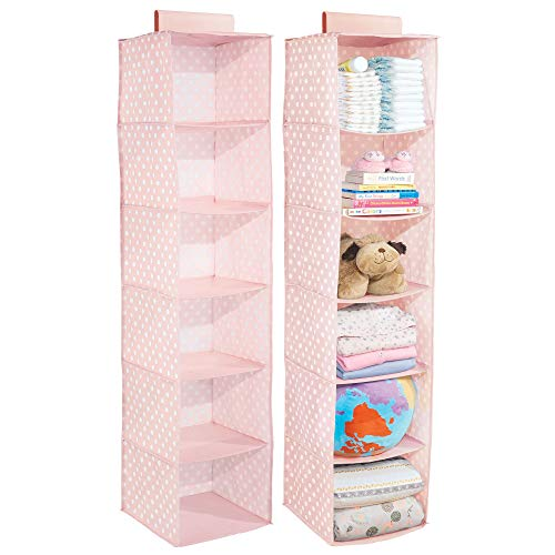mDesign Soft Fabric Over Closet Rod Hanging Storage Organizer with 6 Shelves for Child/Kids Room or Nursery - Polka Dot Pattern, 2 Pack - Pink with White Dots
