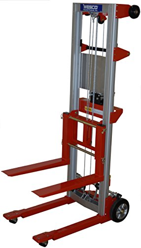 "Wesco Industrial Products 273511 Aluminum/Steel Hand Winch Lifter with Fixed Base, 500-lb. Capacity, 24"" x 35"" x 68"""