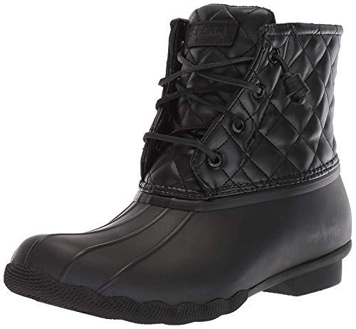 (SPERRY Women's Saltwater Quilted Lux Rain Boot, Black, 6 M US)