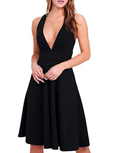 Jaycargogo Profonde Sexy V-cou Féminin Avec Balançoire De Poche Mini-robe Noire