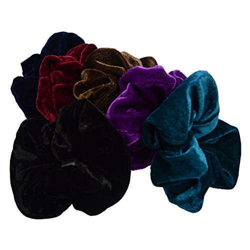 PIDOUDOU SET of 6 LARGE Mix Color Velvet Ouchless Large scrunchies Women Elastic Hair Ties by PIDOUDOU
