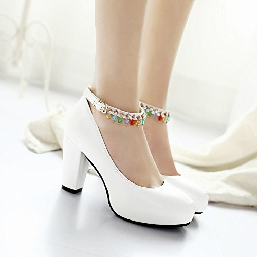 YE Damen Ankle Strap Pumps Blockabsatz Plateau High Heels Geschlossen mit Schnalle und Strass Elegant Schuhe Weiß