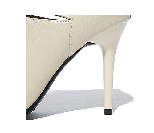 Hollow suggerimento con donna un manuale lavoratore di tacco bene ultima moda breve stivali in vera pelle , beige , 37