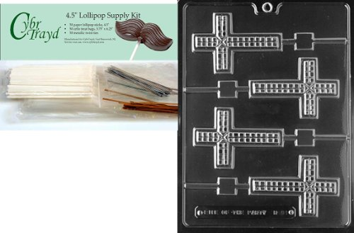 Cybrtrayd Cross Lolly Chocolate Candy Mold with Lollipop Supply Bundle